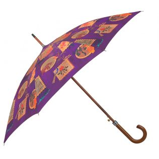 India Circus Purple Wildlife Stamps Umbrella