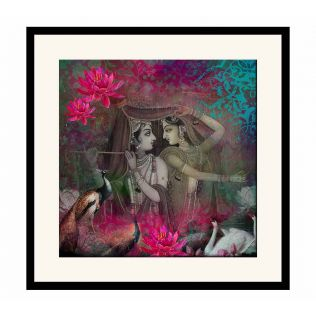 India Circus Radha & Krishna Framed Wall Art