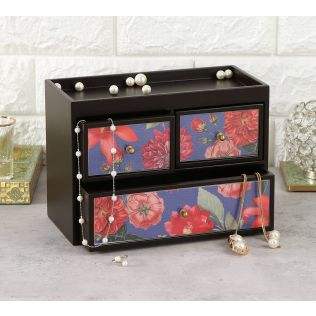 India Circus Red Blooms Chest of Drawer