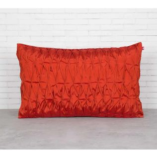 India Circus Red Pucker Rectangle Satin Blend Cushion Cover