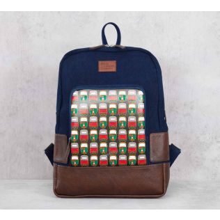 India Circus Rickshaw Masti Denim Backpack