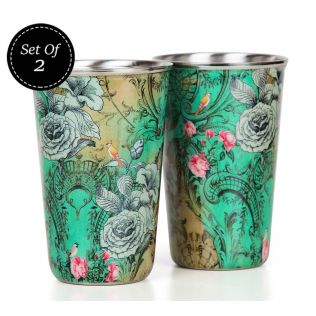 India Circus Rosette Flutter Steel Tumbler Set of 2