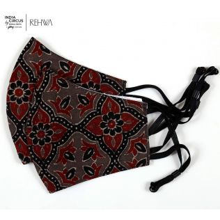 India Circus Rust Ajrak Cotton Mask