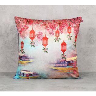 India Circus Scarlet Shadow Blend Velvet 16 x 16 Cushion Cover