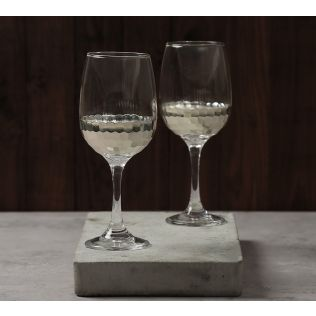 India Circus Silver Honeycomb Wine Glass (Set of 2)