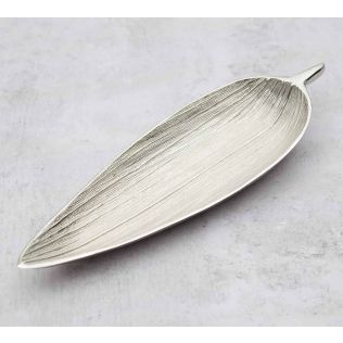 India Circus Silver Linear Big Leaf Platter
