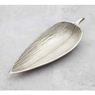 India Circus Silver Linear Small Leaf Platter
