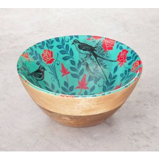 India Circus Sparrow Flower Wooden Bowl