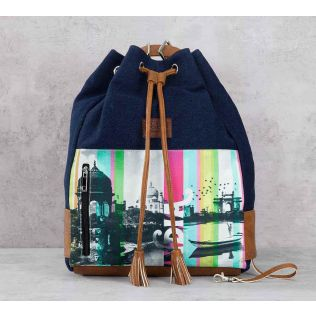 India Circus Strokes of India Denim Hobo Bag