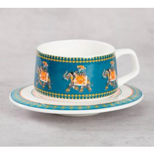 India Circus Swirling Safari Cup and Saucer (Set of 6)