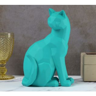 India Circus Teal Cat Figurine
