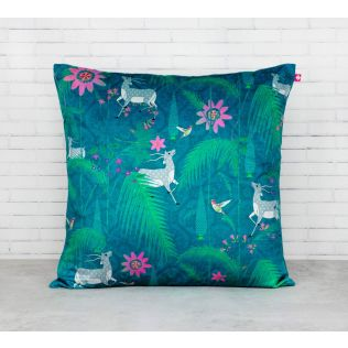 India Circus Teal Forest Fetish Blended Velvet Cushion Cover
