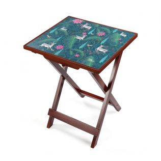 India Circus Teal Forest Fetish Side Table
