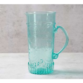 India Circus Teal Glass Jug