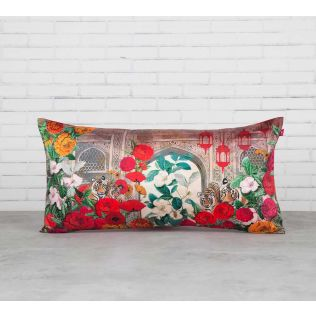 India Circus Tiger Hiding in the Floral Burst Blended Taf Silk Cushion Cover