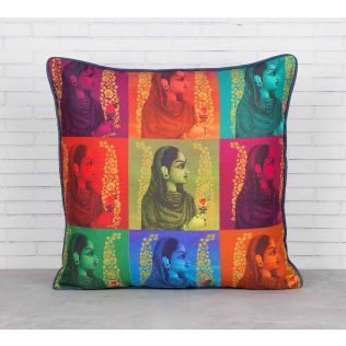 India Circus Tinted Queen Blended Taf Silk Cushion Cover