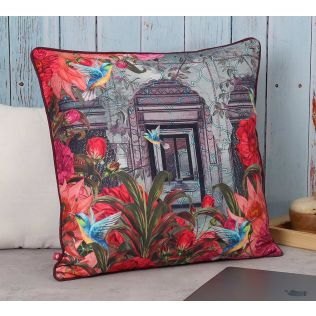 India Circus Trapped Bluebird Polyester Cushion Cover