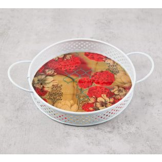 India Circus Trapped Dahlia Iron Small Serving Tray