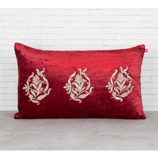India Circus Trickles of Flower Crimson Embroidered Velvet Cushion Cover
