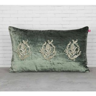 India Circus Trickles of Flower Siege Green Embroidered Velvet Cushion Cover