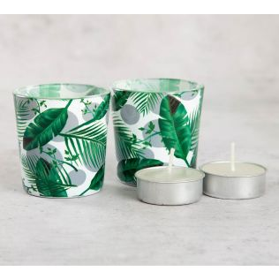 India Circus Tropical Leaves Tea Light Holder
