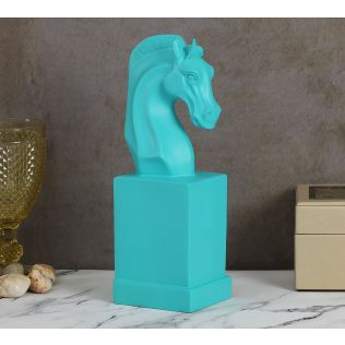 India Circus Turquoise Horse Head Figurine