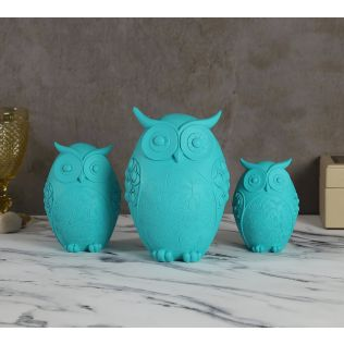 India Circus Turquoise Owls Figurine Set of 3