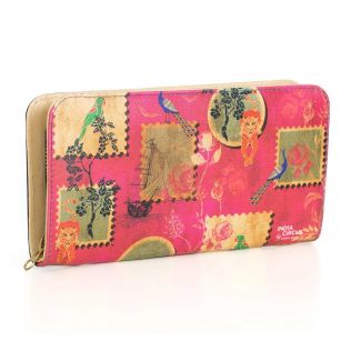 India Circus Wildlife Stamps Ladies Zipper Wallet