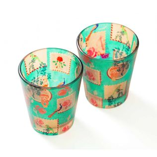 India Circus Wildlife Stamps Shot Glasses Set of 2