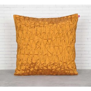 India Circus Yellow Pucker Satin Blend Cushion Cover