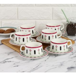 India Circus Appliqued Harmony Cup and Saucer (Set of 6)