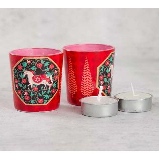 India Cirucs Conifer Stallion Reiteration Tea Light Holder Set of 2