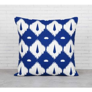 India Circus Conifer Symmetry Blue Cotton Cushion Cover