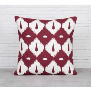 India Circus Conifer Symmetry Maroon Cotton Cushion Cover