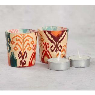 India Cirucs Flirtatious Flowers Tea Light Holder Set of 2