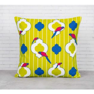 India Circus Peeking Parrots Green Cotton Cushion Cover