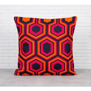 India Circus Prismatic Hexagons Crimson Cotton Cushion Cover