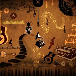 Vintage Groove Sepia Wallpaper