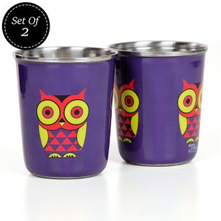 Peeking Owls Small Steel Tumbler (Set of 2)