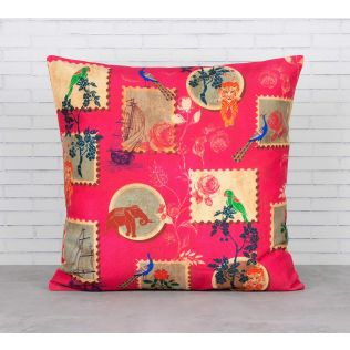 India Circus Wildlife Stamps Cushion Cover