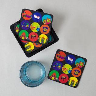 India Vibrant PVC Coaster - (Set of 6)