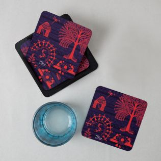 Warli Village PVC Coaster - (Set of 6)