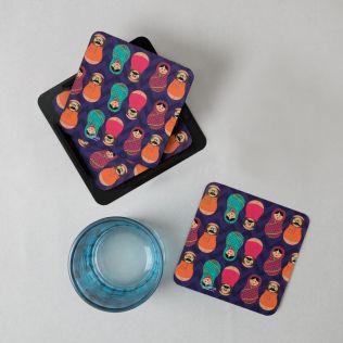 Desi Matryoshka Dolls PVC Coaster - (Set of 6)