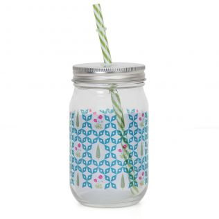 Flowers and Ferns Mason Glass Jar