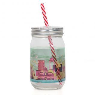 City of Splashes Mason Glass Jar