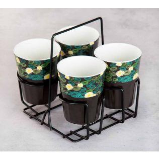 Lotus Leaf Reservoir Chai Glasses (Set of 4)
