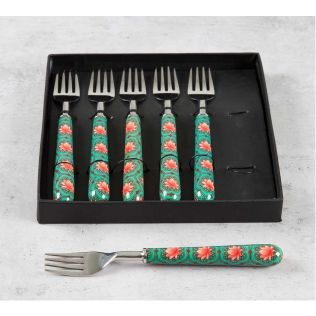 India Circus Abstract Lotus Reiteration Fruit Fork Set of 6