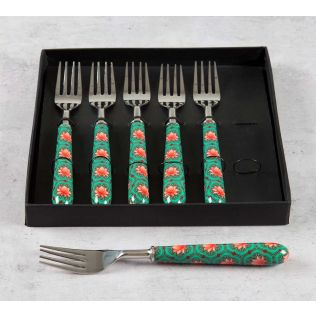 India Circus Abstract Lotus Reiteration Table Fork Set of 6