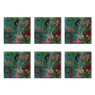 India Circus Animal Kingdom MDF Table Coaster Set of 6