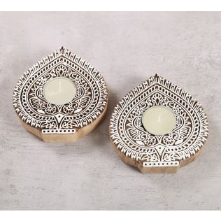 India Circus Arch Shaped Wooden Engraved Tea Light Holder Set of 2